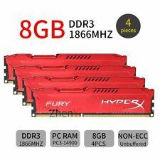 32GB 4x 8GB 4GB DDR3 PC3-14900 1866MHz 1.5V Desktop Red RAM For HyperX FURY Lot