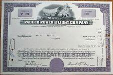 Pacific Power & Light Co. 1974 Stock Certificate w/Stage Coach Vignette - Purple