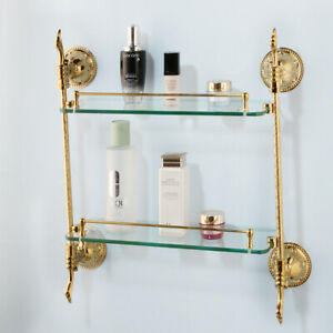 Luxury Gold Bathroom Wall Mount Shower Gel Shampoo Storage Glass Shelf 2 Layer