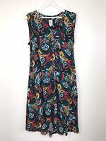 Mantaray Tunic Dress Size 14 Dipped Hem Floral Tropical Print pockets holiday