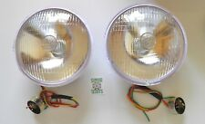"""2 X LUCAS REPRODUCTION 7"""" HEADLAMPS & BULB HOLDER FOR VINTAGE CARS & MOTORBIKES"""