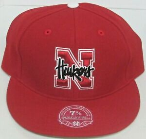 Nebraska Cornhuskers Red Structured Flat Bill Fitted Hat By Mitchell & Ness