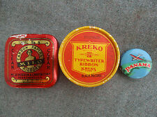 MILO TYPEWRITER RIBBON TIN CAN, KREKO BOX, PANAMA CELLULOID TAPE MEASURE