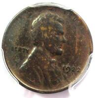 """1922 No D """"Plain"""" Strong Reverse Lincoln Wheat Cent Penny 1C - PCGS VF Details!"""