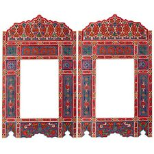 Set of 2 Painted Red Vintage hanging mirror frame, Moroccan farmhouse decor