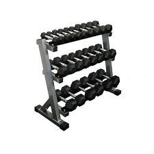 Muscle Motion Commercial 1kg - 15kg Rubber Hex Dumbbell Set with 3 Tier Rack