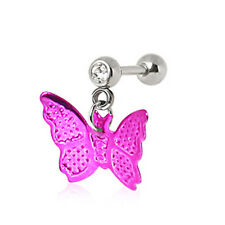 "Hot Pink Butterfly Dangle Tragus A120 16 Gauge 1/4 "" Cartilage Earring with"