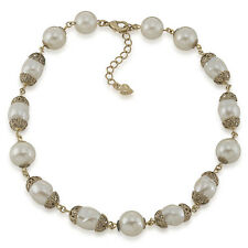 $85 Carolee Gold Tone MATERIAL GIRL Glass Pearl Collar Necklace NEW