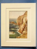 LAND'S END CORNWALL VINTAGE DOUBLE MOUNTED HASLEHUST PRINT 10X8 c1930 QUALITY