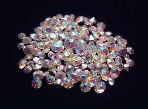 100 CRYSTAL AB (Aurora Borealis) RHINESTONES MIXED SIZES JEWELRY REPAIR LOOSE