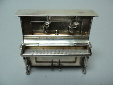 VINTAGE DUTCH .833 SILVER MINIATURE DOLL HOUSE UPRIGHT PIANO w/ CANDLE SCONCES