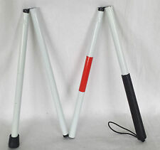 White Visually Impaired BLIND WALKING FOLDING STICK Aluminium Guide Crutch Cane