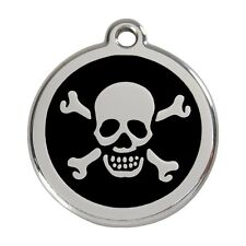 Red Dingo Dog Cat Pet ID Tags Charms Personalized Engraving SKULL CROSS BONES