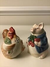 1987 Fitz & Floyd Bacon and Eggs Pig & Hen Salt And Pepper Shakers
