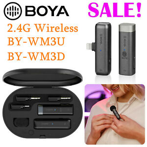 BOYA BY-WM3U WM3D 2.4G wireless Lavalier Microphone For IOS Android Smartphone