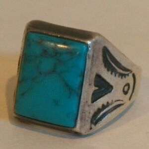 GREAT FRED HARVEY ERA~HAND STAMPED~NATIVE NAVAJO~STERLING TURQUOISE~UNISEX RING