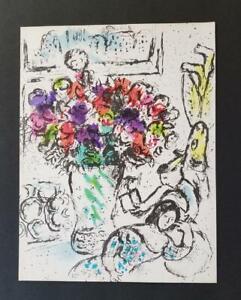 "Marc Chagall Original Lithograph ""Les Anemone"" 1974 Mourlot 730 Limited Ed Rare"