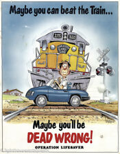 Vintage HTF 1984 OPERATION LIFESAVER Railroad Poster Maybe I can beat the Train