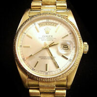 Mens Rolex Day-Date President Solid 18k Yellow Gold Watch Bark Silver Dial 18078