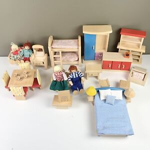 Lot Of Wooden Doll House Furniture And Figures Plan Toys