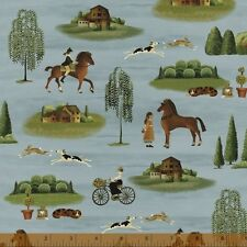 By 1/2 Yard Windham Country Store Fabric~ Americana Villagers and Horses in Blue