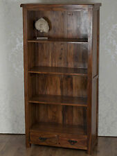 Valencia Large Bookcase Display Cabinet Dark Solid Sheesham Rosewood