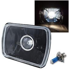 """7X6"""" Black Projector Halogen Crystal Clear Glass Headlight H4 Light Bulb - Each"""