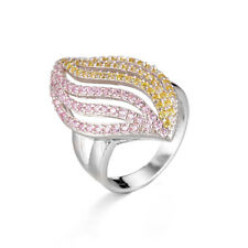 Unique Fashion Ring White Gold Plated Olive Shape Colorful CZ Jewelry for Women