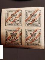 Spanish Morocco , Block of 4 stamps (Overprint) EDIFIL 1, MH (1903-1909)   (I)