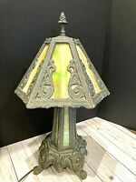 Vtg FF & FF Industries Leaded & 6 Panel Slag Glass 3 Way Table Lamp 1972