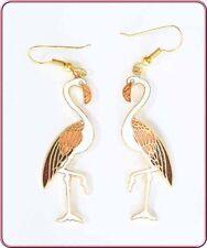 Elegant White Cloisonne Enamel Flamingo Earrings 1970s vintage