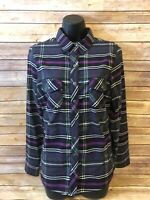 Womens Kuhl Flannel Shirt Size Medium Long Sleeve Plaid Blue Purple Button down
