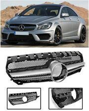 AMG Style Front Bumper Upper Grille Black Silver Trim For 14-Up Benz CLA C117