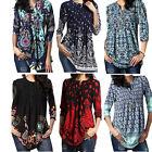 Womens Floral Chiffon Shirts Blouse Casual Loose Long Sleeve T Shirt Summer Tops