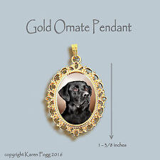 Labrador Retriever Dog Black Adult - Ornate Gold Pendant Necklace