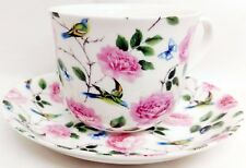Roses Birds Butterflies Large Cup & Saucer Bone China Breakfast Set Decorated UK