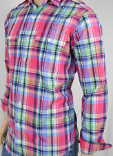 L Large Nordstrom Polo Ralph Lauren Bright Plaid Mens Pocket Shoulder Tabs Shirt