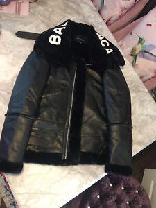 Balenciaga Le Bombardier Logo Fur Collar Jacket. Size Medium.
