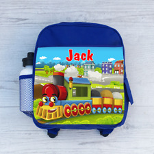 Personalised Choo Choo Train in the City Boys Kids Backpack Childrens School Bag