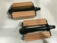 "1/2"" Bicycle Pedals Square Natural Wood Black Spindle Cruiser Lowrider Bikes"