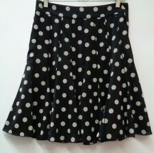 Ann Taylor 4 Black Womens Skirt Polka Dot Stretch Side Zip Lined A Line Small