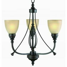 Hampton Bay 3-Light Bronze Chandelier with Tea Stained Glass Shades