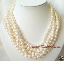 7-8mm, blanc, Akoya, perles d'eau douce, bijoux, beau, collier, long, 198cm