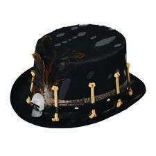 Top Hat Black Voodoo Witch Doctor Style Halloween Fancy Dress Costume Prop