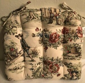 French Country Toile Chair Cushion/Pad Beige with Multicolor Images