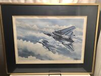"""Painted US Navy F-14s Signed 1986 Framed Matted Ready To Hang 20 1/4 x 26 1/4"""""""