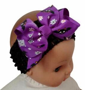 Halloween Hair Bow Black & Purple Baby Hair Bow Headband Child Bat