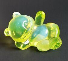 Fenton Yellow Vaselinr Opalescent Bear Figurinr Paperweight