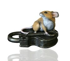 Mice Cold Cast Bronze Mouse on Antique Lock - Hand Painted - Michael Simpson.