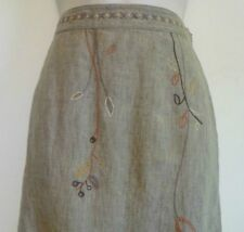 J Jill womens Large 12 petite beige linen floral leaf embroidered pencil skirt